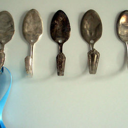 Spoon Wall Hooks by Basilicus Jones - Antique spoons were turned into wall hooks with a simple bend of the handle.