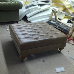 Leather Diamond Tufted Ottoman - Please visit www.TheSofaWorks.com or email us at thesofaworks@gmail.com for a custom quote.