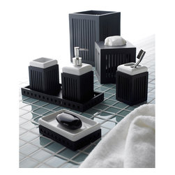 None - Wood and Porcelain Bath Accessory Collection - Organize your toiletries and essentials while decorating your bathroom counter with this contemporary bath accessory collection. Made of slatted dark wood and white porcelain, these fresh, modern accessories will make an instant bathroom update.