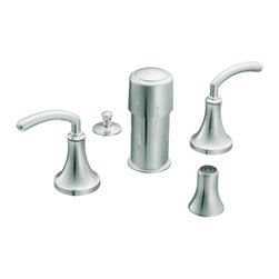"Moen - Moen T5215 Chrome Bidet Faucet Trim Two Lever Handle 8""-16"" Center, ADA - Moen T5215 is part of the Icon Bath collection. Moen T5215 is a new style bathroom, Bidet faucet trim. Moen T5215 has a Chrome finish. Moen T5215 two handle widespread Bidet faucet mounts in a 3-hole 8"" - 16"" Center bidet. Moen T5215 two handle widespread trim requires Moen's 9200 MPact Bidet Rough-in valve to make this faucet complete. Moen T5215 is part of the Icon bath collection, taking ordinary to the extraordinary combining contemporary decor with modern style. Moen T5215 is not recommended for non-rim flush fixtures. Moen T5215 two lever handle provides ease of operation. Chrome is a proven finish from Moen and provides style and durability. Moen T5215 metal lever handle meets all requirements ofADA ICC/ANSI A117.1 and ASME A112.18.1 M/CSA B125.1, NSF 61/9 and proposition 6"". Water Sense Certified. Lifetime limited Warranty."