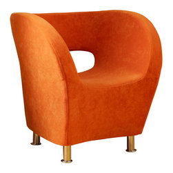 Great Deal Furniture - Salazar Modern Design Accent Chair, Orange - Featuring a Retro Modern look, the Salazar Accent Chair was designed with style and space in mind. Featuring a modern tub design, this accent chair is upholstered in soft and inviting orange microfiber for soft seating. Whether placed in your living room, bedroom or office, the Salazar chair is a statement piece.