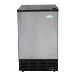 New Air - AI-500SS Under Counter Ice Maker - Automatic shut off. Makes 12 lbs. of ice per day. Can be used with a water line. Built in or freestanding design. Front venting. Full basket indicator. Removable ice bin. Crescent shaped ice cube. . 25 in. L x 17 in. W x 15 in. H (66.1 lbs)The NewAir AI-500SS under counter ice maker fits neatly in home bars, kitchens, boats and RVs to provide a ready supply of ice when and where you need it. It's designed to function as either a freestanding unit or built into your existing cabinetry. The black cabinet and stylish stainless steel door blends seamlessly with any decor.