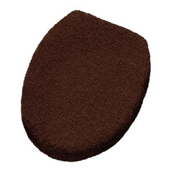 Elongated Lid Cover for Toilet Seats, Nut Brown - The search is over!  We know how difficult it is to find an elongated toilet seat cover that is TRULY elongated.  Our toilet lid cover is not only soft, densely woven and beautifully made, but it is machine washable and uses a drawstring that allows the lid cover to conform tightly to the shape of your toilet lid.  The drawstring is simply tied tightly in the back and tucked between the elongated lid cover and your lid.