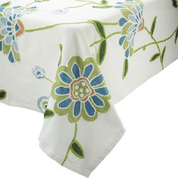 Xia Home Fashions - Crewel Embroidered Flora Linens Collection Tablecloth-Blue, 60In by 60In - Crewel embroidered Jacobean florals are rendered in different lively colors. Great for mixing and matching!