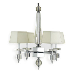 Kathy Kuo Home - Aster Modern Hollywood Regency Chrome Crystal 4 Light Chandelier - L - Introduce some modern glamour into your home with this sophisticated chandelier. Clean lines and geometric shapes blend beautifully with luxurious crystal, chrome and silk to make any space more elegant — effortlessly.