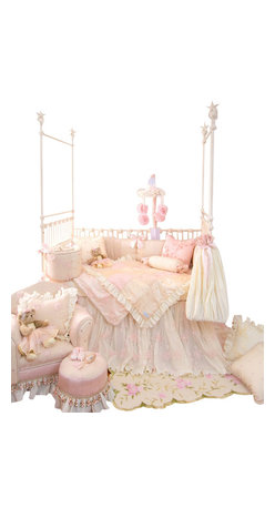 Glenna Jean - Ava Crib Bedding Set - The Ava Baby Crib Bedding Set by Glenna Jean features a crib skirt made of layers of crushed vanilla taffeta designed to cascade to the floor under a sheer floral, sequin embellished overskirt.  Sheer floral fabric has a dimensional flower appliqué and is lined with ivory moiré.  Ivory cording adds the finishing touch to the bumper for a dramatic and luxurious statement of style.