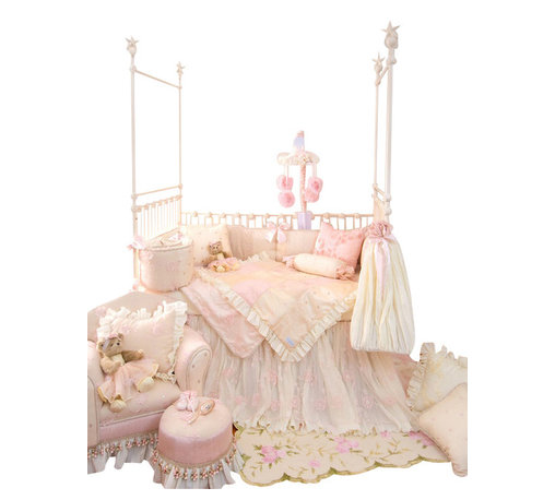 Glenna Jean - Ava Crib Bedding Set 3-Piece Set - The Ava Baby Crib Bedding Set by Glenna Jean features a crib skirt made of layers of crushed vanilla taffeta designed to cascade to the floor under a sheer floral, sequin embellished overskirt. Sheer floral fabric has a dimensional flower applique and is lined with ivory moire. Ivory cording adds the finishing touch to the bumper for a dramatic and luxurious statement of style.