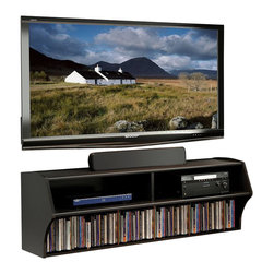 Prepac - Prepac BCAW-0200-1 Black Altus Wall Mounted Audio/Video Console - Give any room a dash of modern style with our innovative Altus wall mounted audio/video console. Finished in goes-with-everything black, this sleek yet functional console offers two generous storage compartments. The main shelf is 15 inches deep, providing ample space for your cable box, DVR or other media components. The bottom shelf has room for over 100 of your most-watched blue-ray discs or for whatever else you're storing high above your freed-up floor space! cables are neatly concealed to give the console a professional, minimalist look. Installing this AV console at any height is simple, thanks to our innovative hanging rail mounting system.