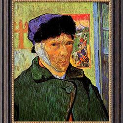 None - Vincent Van Gogh 'Self Portrait with Bandaged Ear,1889' Framed Canvas Art - Artist: Vincent Van GoghTitle: Self Portrait with Bandaged Ear,1889Product type: Canvas art