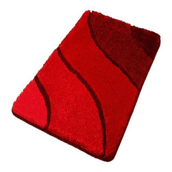 Plush Washable Red Bathroom Rugs, Large - Luxury large red bath rug. This sculpted red bathroom rug has a multi-level pile that is plush and stylish.  Durable .91in pile height that is warm, easy to care for and has a non-slip / non-skid backing.  Perfect for any bathroom.  Machine wash in warm water and fluff dry in a dryer. Made in Germany