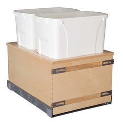 "Century Components - Century Components 35 Qt Double Soft Close Pull Out Waste Bin - Birch, 17-7/8"" - 35 Qt White Double Plywood Bottom Mount Kitchen Pull Out Waste Bin Container - 17-7/8""W x 19""H x 21""D. This unit is designed to be inserted into a new or existing cabinet with an opening width of 18""-21"". Century Components CASBM17PF is made from baltic birch plywood with a clear natural finish for great appearance, quality and durability."