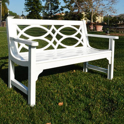 Innova Hearth & Home - White Brentwood Bench - Spruce up your patio or yard with this regal bench that features a rust-free cast aluminum frame, a graceful design and a serene profile.   Weight capacity: 500 lbs. 52'' W x 32'' H x 25.25'' D Seat: 16'' H Aluminum / steel Assembly required Imported