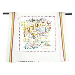 CATSTUDIO - Indiana State Dish Towel by Catstudio - This original design celebrates the great state of Indiana from Madison to Muncie to Lake Michigan.  This design is silk screened, then framed with a hand embroidered border on a 100% cotton dish towel/ hand towel/ guest towel/ bar towel. Three stripes down both sides and hand dyed rick-rack at the top and bottom add a charming vintage touch. Delightfully presented in a reusable organdy pouch. Machine wash and dry.