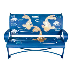 Cricket Forge - Koi Bench - Koi fish rarely stop moving and are capable of swimming up strong currents. Thus, the symbol of the koi is said to represent energy, strength and good fortune. Our bench design integrates the curves and movement of these beautiful fish with the sense and tranquility we experience from rippling waters. Bench is hand painted in blues, gold and white.