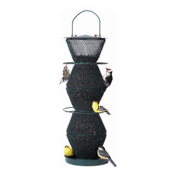 No-No Feeder - Green 5 Tier No/No - The Green 5 Tier NO/NO holds over 5 pounds of black oil sunflower seeds and has evenfeed baffles that hold the feed at all the different levels. It has perch rings and a perching tray.