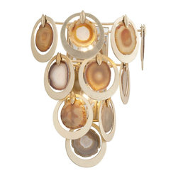 Corbett Lighting - Rock Star Wall Sconce - Rock Star Wall Sconce is made of hand crafted iron featuring Natural Agate slices surrounded by circles in Gold Leaf finish. Available in two sizes. Requires 60 watt 120 volt B10 candelabra base incandescent lamps, not included. UL listed. Dimensions: Small: 7 inch width x 15.75 inch height x 5.25 inch depth. Large: 12.25 inch width x 18 inch height x 7.25 inch depth.
