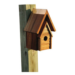 Heartwood - Wrental House Bird House - This  beautiful  bird  house  is  the  perfect  addition  to  any  home  or  garden  of  your  choice.  Solid  mahogany,  hand-oiled  and  with  a  hanging  loop  on  the  back,  this  house  is  ready  to  go!  Along  with  an  A-line  reinforced  front  this  beautiful  and  timeless  bird  house  is  sure  to  please  all  family,  friends  and  guests.  This  bird  house  is  one  you  are  sure  to  enjoy  in  the  years  to  come.                  6x7x11              1-1/4  hole              Handcrafted  in  USA  from  renewable,  FSC  certified  wood