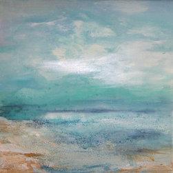 Sheri A. Wilson - Beach Canvas Art Original Painting - Baby Blue Beach Seascape Original  Textured Acrylic Painting 12x12x1
