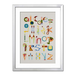 Photos.com by Getty Images - Phantasy Alphabet - Colorful alphabet graphic with symbols in a silver metallic frame.