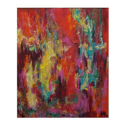 Used Abstract Acrylic Painting Jazz Series: Red Jazz I - An abstract acrylic painting with collage elements on canvas, framed and wired for hanging. This painting features a jazzy scene in warm red, purple, and yellow with touches of green.