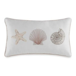 """Royal Heritage Home/bloomcraft Home - Outer Banks Oblong Toss Pillow - Embroidered with fun seashell accents, this oblong toss pillow is the perfect way to bring the beach right into your bedroom. Measures 12"""" W x 20"""" L. 100% polyester. Dry clean only. Imported."""