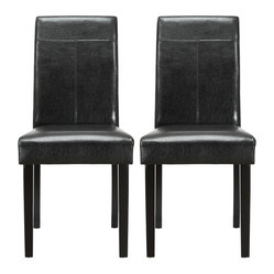 Compass Elegant Dining Chair in Black Vinyl Set of 2