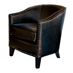 Great Deal Furniture - Black Leather Tub Design Club Chair - The Black Leather Tub Design Club Chair is a fusion of modern style with the luxury of leather. Crafted with only the highest quality materials, our bonded leather is soft, smooth, and will provide durability for years to come. This club chair will be welcomed into your home.