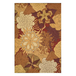 Nourison - South Beach Floral Spice 10' x 13' Nourison Rug by RugLots - Make your outdoors as fabulous as your interiors with this exciting collection of indoor/outdoor rugs. Featuring gorgeous oversized wildflower prints and spectacular color palettes this collection enchants, uplifts and lends an easy elegance to its surroundings. Some of the unique features of this collection are Indoor or Outdoor Uses,UV Protected, Mildew Proof, Fade Resistant, Space Dyed, Easy Clean: Just Rinse with a Hose