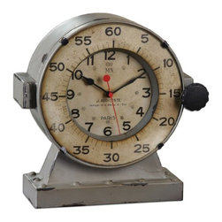 Uttermost - Uttermost 06096 Marine - 11 Table Decorative Clock Antiqued Gray Finish - Distressed antiqued gray with an antiqued aged ivory clock face. Quartz movement.