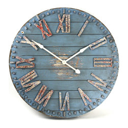 Kathy Kuo Home - Rustic Beach Cottage Blue Hand Painted Wood Metal Wall Clock - The perfect time-teller for a summery cottage, this wooden wall clock offers color and handmade appeal.  Made of wood, iron and other metal, the face of this clock is hand-painted blue and heavily distressed.  Antique hand-painted Roman numerals and white clock hands complete the face.  Ideal for the rustic interior or beach cottage, this battery-operated clock will keep today's time without detracting from old-style décor.