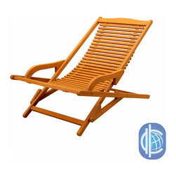 International Caravan - International Caravan Royal Tahiti Yellow Balau Hardwood Lounge Chair - With its laid-back look and folding design, this hardwood outdoor lounge chair will make you feel like you are on an exotic beach vacation right in your own backyard. Its folding design makes it easy to transport from your patio to your sun room.