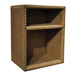 """Noir - Noir Burlap Cube - Natural and simple designs, Noir products supply a timeless complement to a variety of interiors. Richly textured, this cube furnishing offers charming appeal to transitional living rooms and bedrooms. The brown burlap storage piece features two open shelves and classic nailhead trim for functional yet statement-making style.  24""""W x 16""""D x 30""""H."""