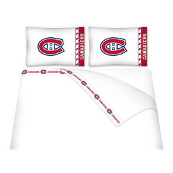 Sports Coverage - Sports Coverage NHL Montreal Canadiens Microfiber Sheet Set - Twin - NHL Montreal Canadiens Microfiber Sheet Set have an ultra-fine peach weave that is softer and more comfortable than cotton! This Micro Fiber Sheet Set includes one flat sheet, one fitted sheet and a pillow case. Its brushed silk-like embrace provides good insulation and warmth, yet is breathable. It is wrinkle-resistant, stain-resistant, washes beautifully, and dries quickly. The pillowcase only has a white-on-white print and the officially licensed team name and logo printed in team colors. Made from 92 gsm microfiber for extra stability and soothing texture and 11 pocket. Sheet Sets are plain white in color with no team logo. Get your NHL Sheets Today.   Features:  -  92 gsm Microfiber,   - 100% Polyester,    - Machine wash in cold water with light colors,    -  Use gentle cycle and no bleach,   -  Tumble-dry,   - Do not iron,