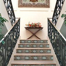 Mediterranean Staircase by NewZeugma Custom Luxury Mosaics and Iznik Tiles