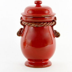 Artistica - Hand Made in Italy - Scavo Corda: Canister Small Selenio Red - With our new Scavo Corda Collection, once again we are combining simplicity and elegance for your home and garden.