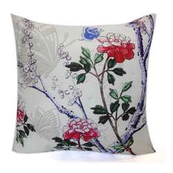 Vintage Maya - Vienna Floral Pillow Cover - Blooms and butterflies inspired by Austrian gardens are the theme of this elegant pillow cover. It's a fantastic way to freshen your traditional or contemporary decor.