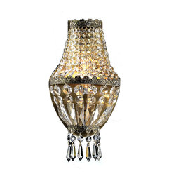 "Worldwide Lighting - Metropolitan 1 light Antique Bronze Finish with Clear Crystal Wall Sconce - This stunning 1-light wall sconce only uses the best quality material and workmanship ensuring a beautiful heirloom quality piece. Featuring a radiant antique bronze finish and finely cut premium grade crystals with a lead content of 30%, this elegant wall sconce will give any room sparkle and glamour. ADA Compliant (this wall sconce does not protrude no more than 4"" from wall). Worldwide Lighting Corporation is a premier designer manufacturer and direct importer of fine quality chandeliers, surface mounts, and sconces for your home at a reasonable price. You will find unmatched quality and artistry in every luminaire we manufacture."