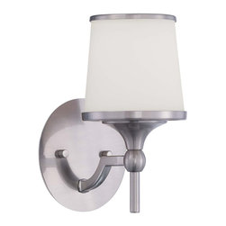 Savoy House - Savoy House Hagen Wall Sconce in Satin Nickel - Shown in picture: The Hagen family offers sleek - streamlined style that is modern and classic. This group has a timeless appeal with a lustrous Satin Nickel finish and soft white etched glass.