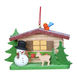 Alexander Taron - Christian Ulbricht Cottage with Snowman and Deer Ornament - 10-0832 - Shop for Holiday Ornaments and Decor from Hayneedle.com! A friendly snowman and animal friends around a snow-dusted cottage this Christian Ulbricht Cottage with Snowman and Deer Ornament is a true example of German folk art. Each ornament is individually handmade in Germany by expert craftsmen. Hand-painted to perfection by skilled artisans.About Alexander Taron Inc.For more than half a century the Taron Company has been delighting customers and collectors with traditional European gifts. These exquisite hand-crafted products range from nutcrackers and incense burners to ornaments and cuckoo clocks; unique and collectible they make unforgettable gifts regardless the occasion. Originally founded in 1949 Alexander Taron remains dedicated to providing high-quality items at great value.