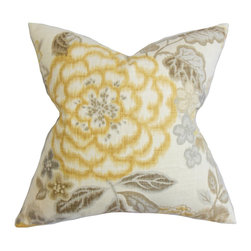 """The Pillow Collection - Unai Floral Pillow Yellow 18"""" x 18"""" - Fill your homes with this fresh looking accent pillow. Add a cheery and homey vibe to your living room or bedroom with this statement piece. A flourishing floral pattern in shades of yellow, brown and gray on a white background is featured on this indoor pillow. Perfect for any settings and themes, this 18"""" pillow is made with 100% durable cotton fabric. Hidden zipper closure for easy cover removal.  Knife edge finish on all four sides.  Reversible pillow with the same fabric on the back side.  Spot cleaning suggested."""