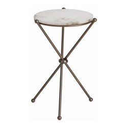 Arteriors Home - Arteriors Home Chloe Antique Brass/Marble Accent Table - Arteriors Home 9962 - Arteriors Home 9962 - The Chloe Accent Table boasts a compelling combination. A snowy white marble top is supported by sleek antique brass legs crossing in classic sophistication.