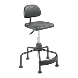 "Safco - Safco Task Master Economy Industrial Chair in Black - Safco - Drafting Chairs - 5117 - Hang tough with the TaskMaster Economy Industrial Chair. With a 15 year warranty it offers an overall height of 17"" to 35"" with an 8"" pneumatic lift and an additional 10"" of Wave Tube Extension. 360 degree swivel. Ergo knob controls for 3"" backrest depth and 3"" backrest height adjustment. Each chair features a 5-leg 26"" dia. tubular steel base with 2.5"" high-impact nylon glides for safety and stability. Sturdy ergonomically correct low-rung polypropylene footrest mounts securely to base. The chair also features a black microcellular self-skinning polyurethane foam covering. Assembly required."
