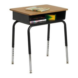 ECR4KIDS Metal Open Front Childrens Desk - Set of 2 - Kids will be comfortable and ready for learning when they're seated at the ECR4KIDS Metal Open Front Childrens Desk - 2 Pack. The metal book box on this desk features a pencil groove and offers plenty of space for books papers and school supplies. Attractive and durable the laminate top is easy to clean and offers a room work area for any student. Adjustable legs ensure this desk can be used through many grade levels. Nylon swivel glides are adjustable to keep the desk steady on uneven floors. Note: Colors may vary and are subject to change without notice. About Early Childhood ResourcesEarly Childhood Resources is a wholesale manufacturer of early childhood and educational products. It is committed to developing and distributing only the highest-quality products ensuring that these products represent the maximum value in the marketplace. Combining its responsibility to the community and its desire to be environmentally conscious Early Childhood Resources has eliminated almost all of its cardboard waste by implementing commercial Cardboard Shredding equipment in its facilities. You can be assured of maximum value with Early Childhood Resources.