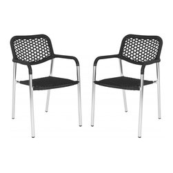 Safavieh - Sitka Arm Chair - The ultimate blend of fashion and function, the Sitka stacking arm chair by Safavieh is crafted for stylish guest seating indoors or for outdoor entertaining. Crafted of black PE wicker with a honeycomb weave on the seat back, this set of two aluminum framed chairs is easy on the eyes and wallet.