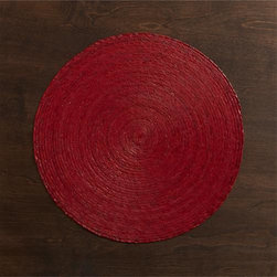 Tropical Palm Red Placemat - Colorful round is handmade from natural Mexican palm and sealed with a wax finish for easy cleanup.