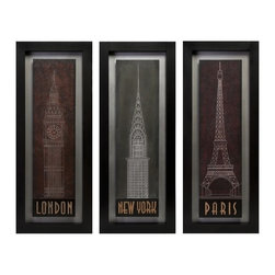 """IMAX CORPORATION - Wooden Wall Decor - set of 3 - Transitional set of three complimentary wall panels with dark blue, green and maroon back ground with line drawings of famous monuments. Set of 3 in various sizes measuring around 42.25""""L x 7.5""""W x 18.5""""H each. Shop home furnishings, decor, and accessories from Posh Urban Furnishings. Beautiful, stylish furniture and decor that will brighten your home instantly. Shop modern, traditional, vintage, and world designs."""