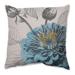 Pillow Perfect - Rose Blue 18-Inch Throw Pillow - - Blue Rose 18-Inch Throw Pillow  - Sewn Seam Closure  - Knife Edge Pillow Perfect - 524801
