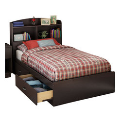 South Shore - South Shore Logik Twin Mates Storage Bed in Chocolate Finish - South Shore - Beds - 3359213 - The fashionably functional Logik Twin Mates Storage Bed is well adapted to today's requirements. Its two spacious drawers will provide your child with a convenient bedside storage solution. The drawers features antique finish metal handles and Smart Glide slides with stops and built-in dampers for added safety. Combine it with the optional Logik Twin Bookcase Headboard to form a more complete ensemble. Finished in a warm chocolate finish the South Shore Logik Twin Mates Storage Bed will create a look of unparalleled beauty in your child's bedroom.