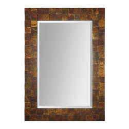 """Uttermost - Ambrosia Copper Mosaic Mirror - Frame is made from alternating, raised squares covered in oxidized copper sheeting. The oxidation on each piece will vary. Mirror features a generous 1 1/4"""" bevel. May be hung horizontal or vertical."""