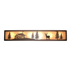 "Wildlife Decor LLC - Valance Style Bath Vanity Light, Wrinkle Black-White Mica, 36"", Deer & Cabin - Valance style bath vanity light available in 4 lengths and your choice of designs."